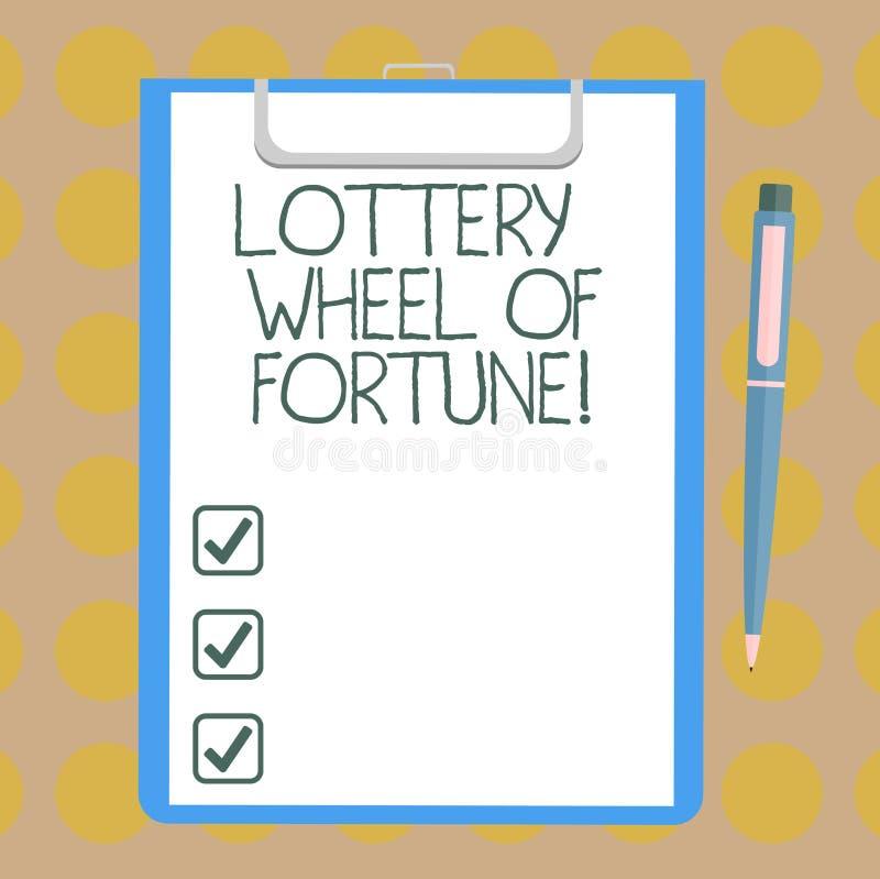 Word het schrijven het Wiel van de tekstloterij van Fortuin Bedrijfsconcept voor gokkende de verslavingsgokker Blank van het Kans vector illustratie