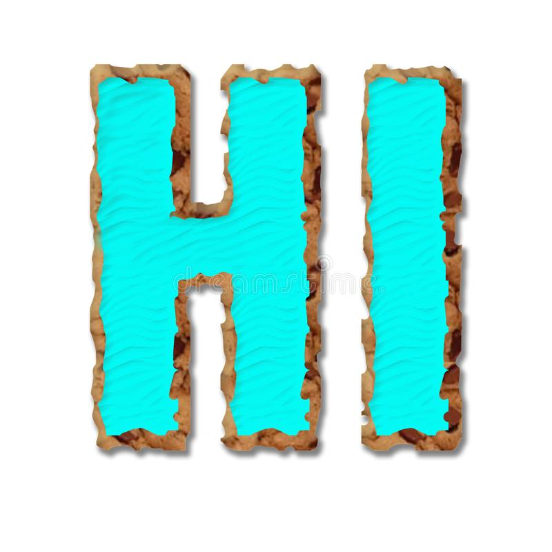 Word hi, cookie letters. Cookie big letters H,I,  isolated,  on  white  background vector illustration
