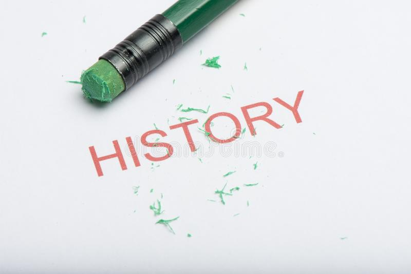 Word `History` with Worn Pencil Eraser and Shavings stock photo