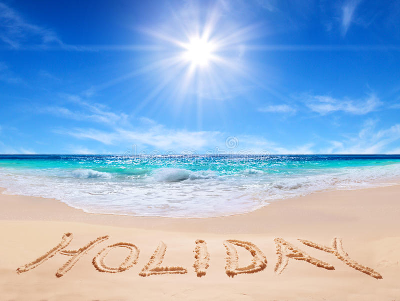 Word Holiday On The Tropical Beach Stock Photo