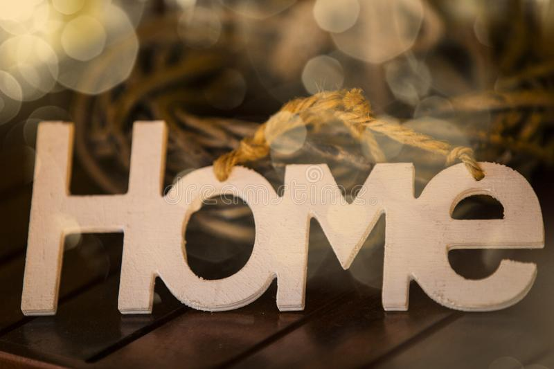 The word Home in white letters stock photos