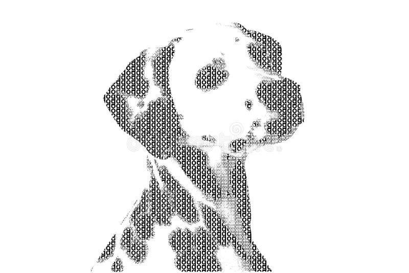 Word hond wordt gemengd om cijfer van hond, met typografiestijl, isola te zijn die stock illustratie