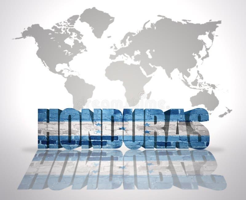 Word Honduras sur un fond de carte du monde illustration de vecteur