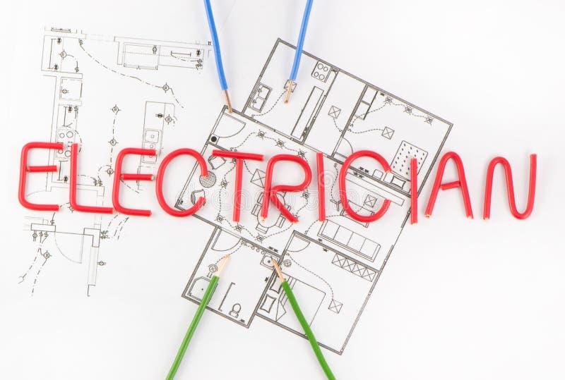 Word hoofdelektricien stock foto's