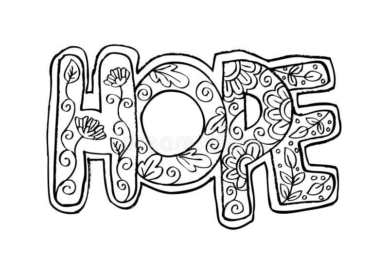 Word hoop zentangle stileerde vector illustratie