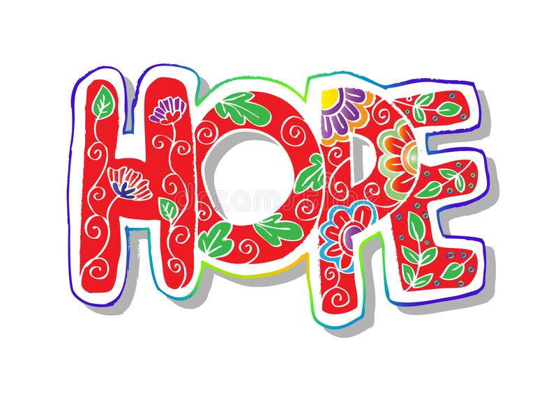 Word hope zentangle stylized stock illustration