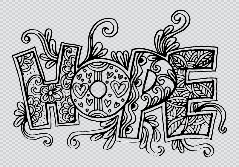 Word hope zentangle stylized vector illustration