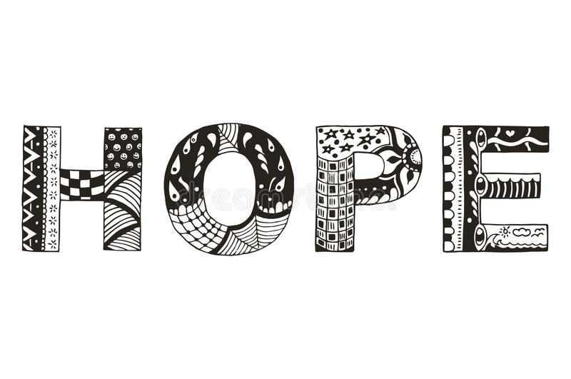 Word hope zentangle stylized, vector, illustration, freehand pen royalty free illustration