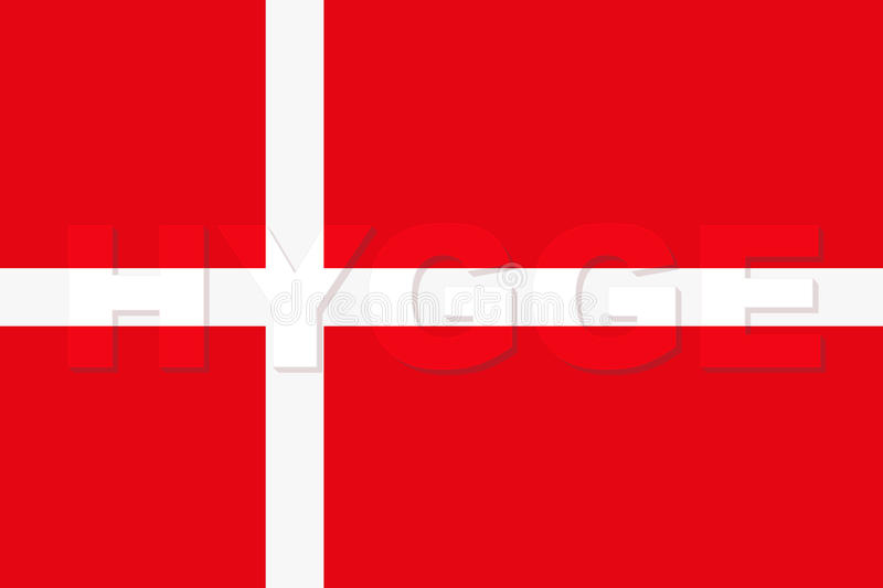 Word HYGGE sur le drapeau du Danemark illustration libre de droits