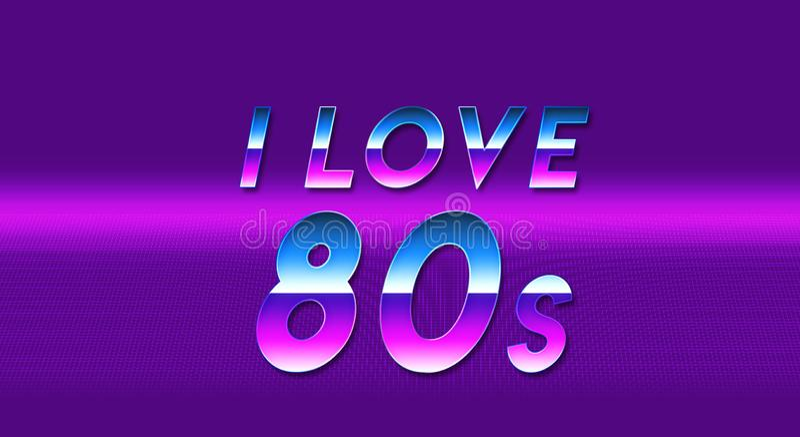 Word I houdt van het behang van de jaren '80 purpere vaporwave royalty-vrije illustratie
