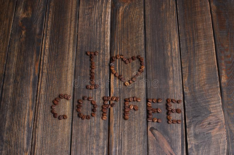 word & x22;I love coffee& x22; made from coffee beans stock photography