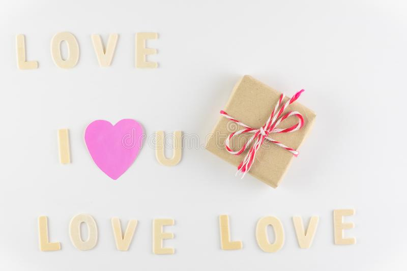 Word `I love You` and `love` on white background with space for text, Love icon, valentine`s day. Relationships concept royalty free stock images