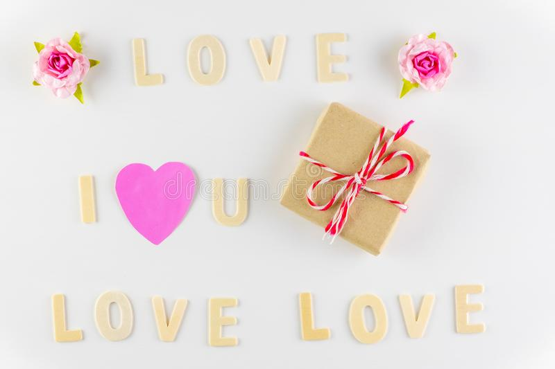 Word `I love You` and `love` on white background with space for text, Love icon, valentine`s day. Relationships concept stock photo