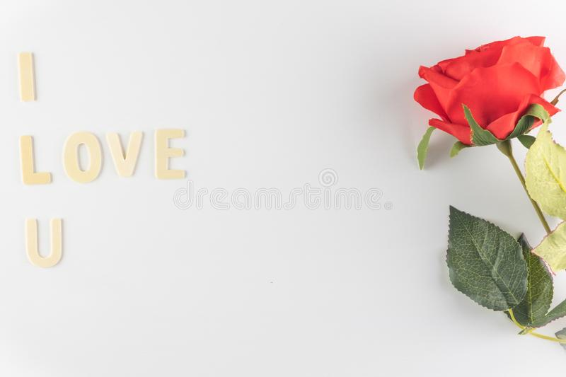 Word `I love You` on white background with space for text, Love icon, valentine`s day. Relationships concept stock image