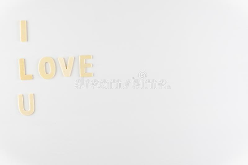 Word `I love You` on white background with space for text, Love icon, valentine`s day. Relationships concept royalty free stock photo