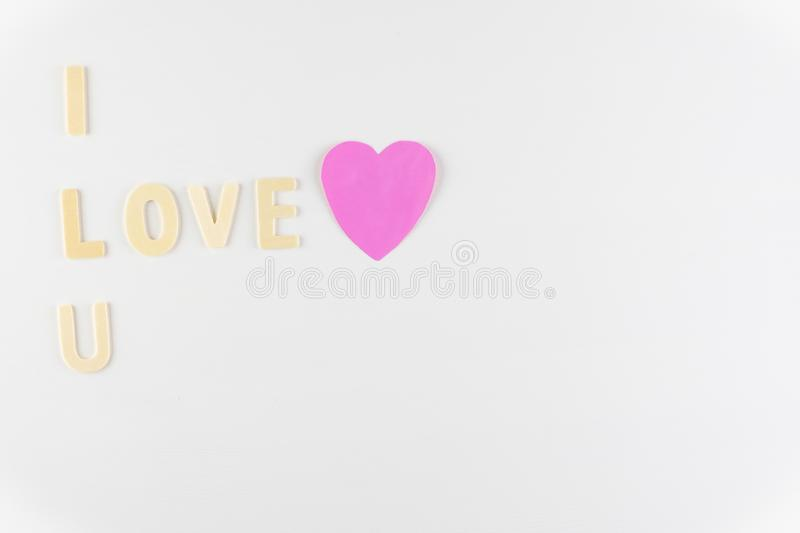 Word `I love You` on white background with space for text, Love icon, valentine`s day. Relationships concept royalty free stock photography