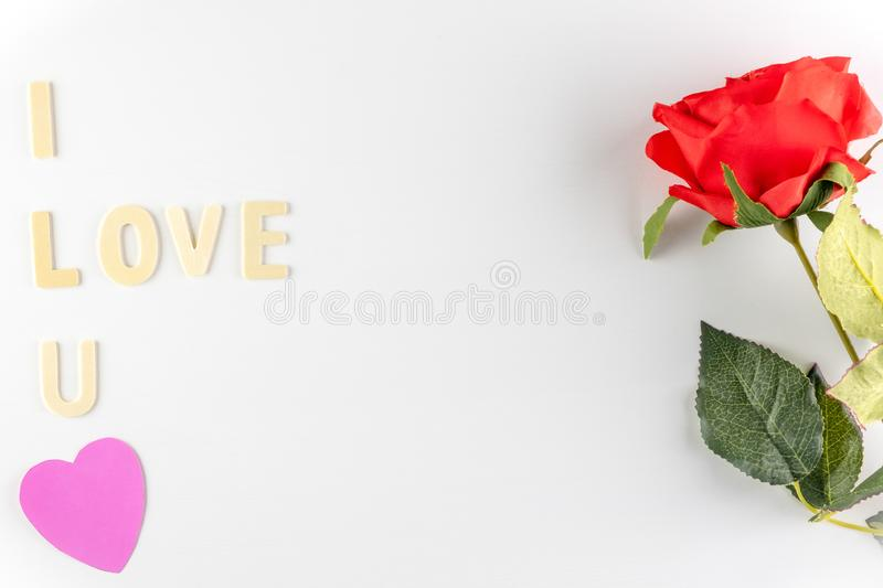 Word `I love You` on white background with space for text, Love icon, valentine`s day. Relationships concept royalty free stock photos