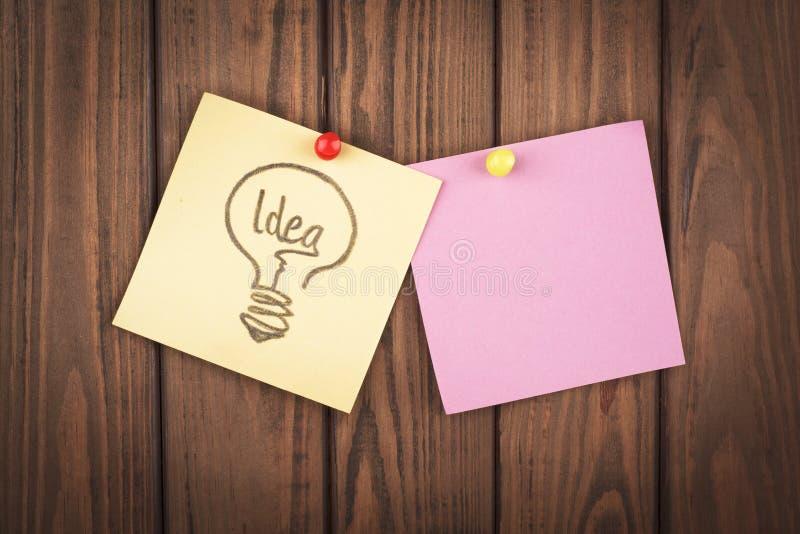Word idee op papier stock foto's