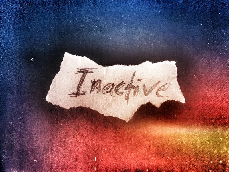 The word inactive written by hand on the small rough paper rough art design royalty free stock photo