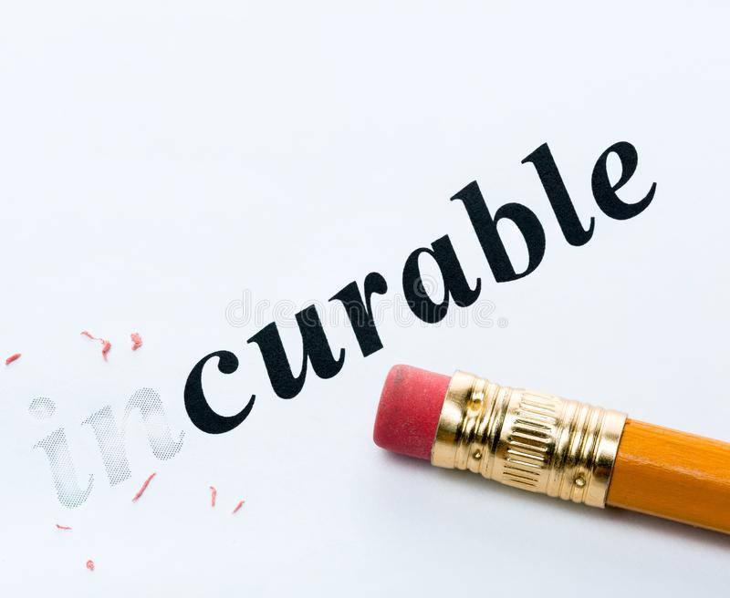 Word incurable curable. Word and pencil with eraser close-up Increased focus area royalty free stock photos