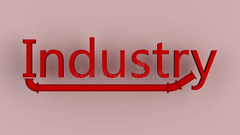 Industry. The word industry written in red, with a kind of pipeline underneath royalty free illustration
