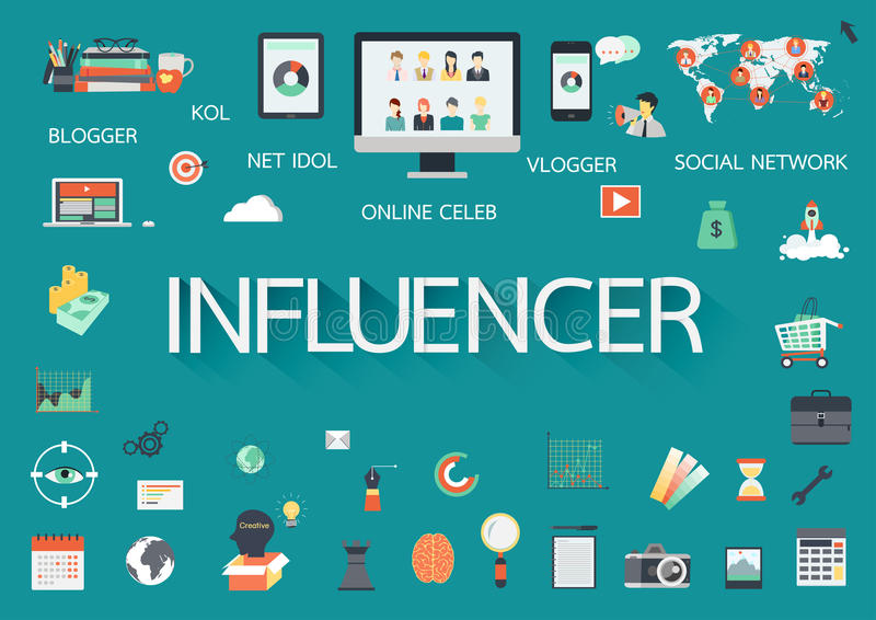Word influencer with involved flat icons around. vector illustration