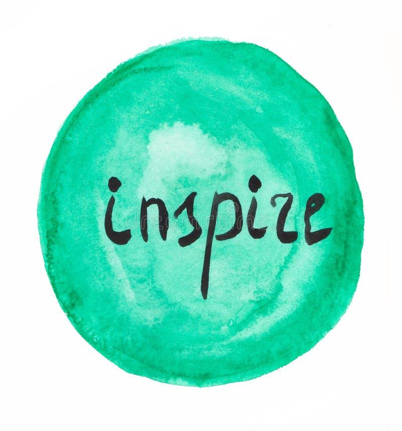 Inspire word. Watercolor illustration. stock illustration