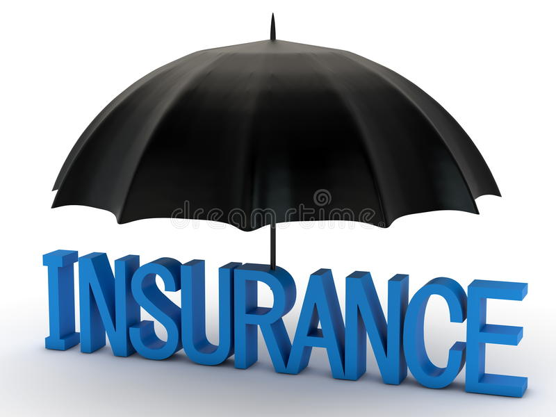 Download Word Insurance And Black Umbrella Stock Illustration - Image: 32036038