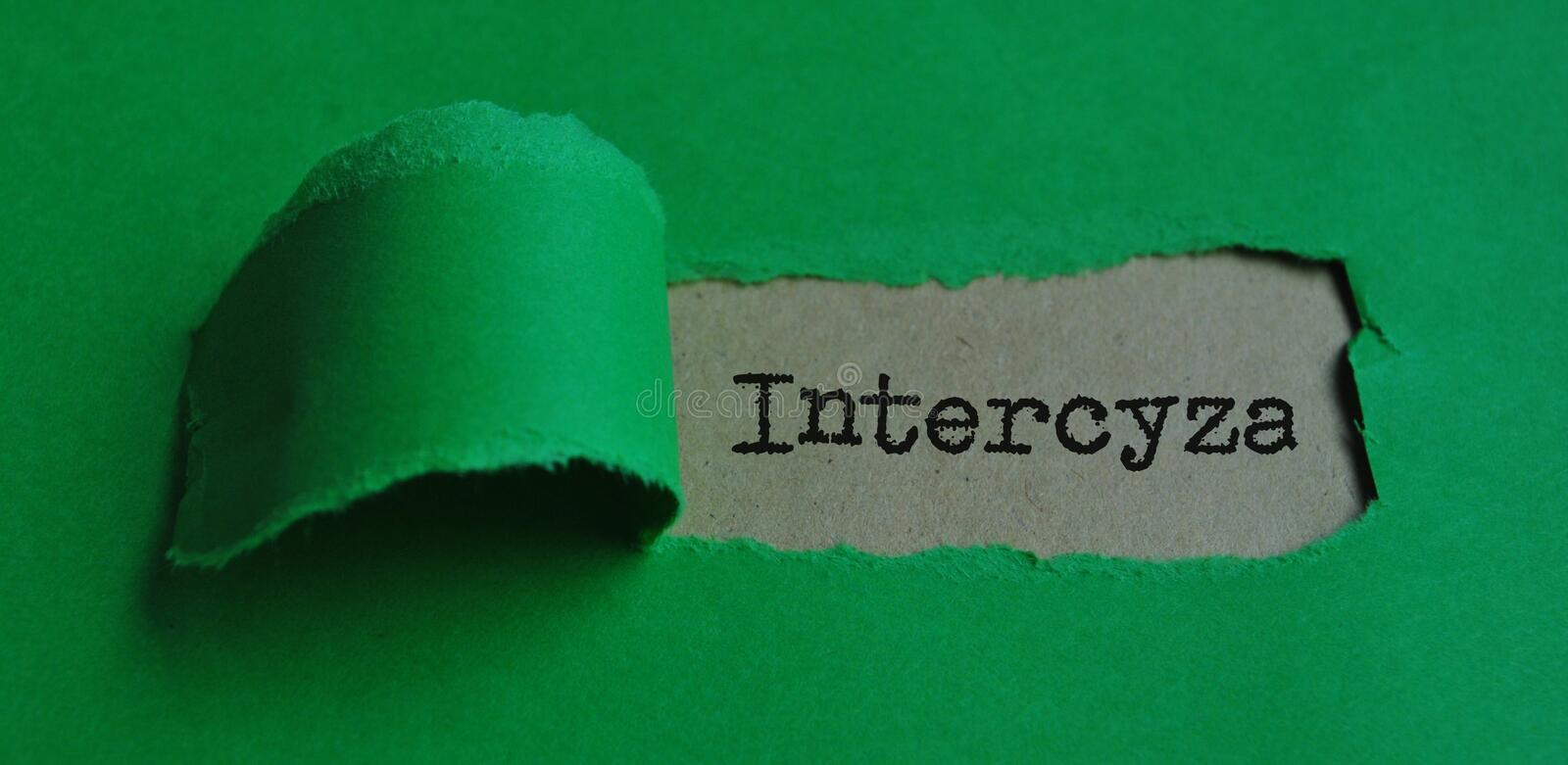 Word `intercyza` on paper royalty free stock images
