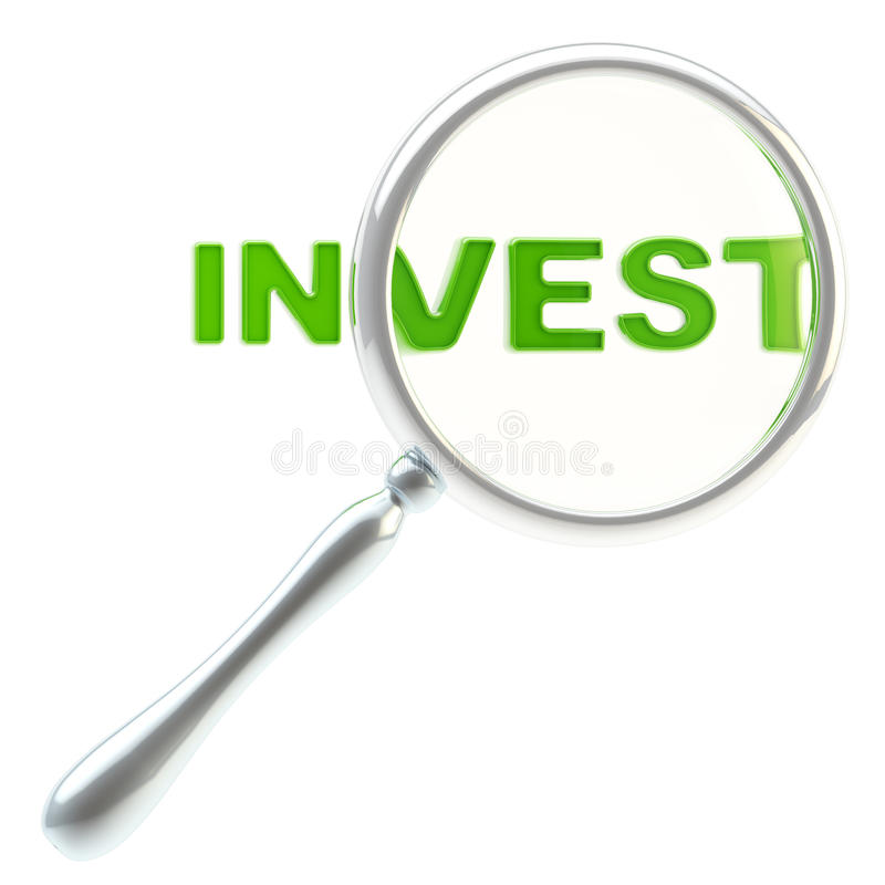 Download Word Invest Under The Magnifier Isolated Stock Image - Image of business, closeup: 25436425