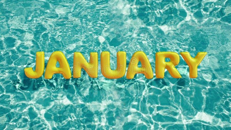 Word ` JANUARI ` vormde opblaasbaar zwemt ring die in een verfrissend blauw zwembad drijven stock illustratie