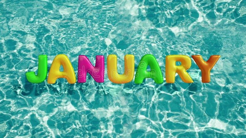 Word ` JANUARI ` vormde opblaasbaar zwemt ring die in een verfrissend blauw zwembad drijven royalty-vrije illustratie