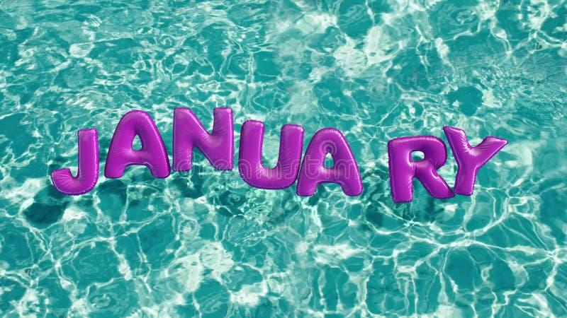 Word ` JANUARI ` vormde opblaasbaar zwemt ring die in een verfrissend blauw zwembad drijven vector illustratie