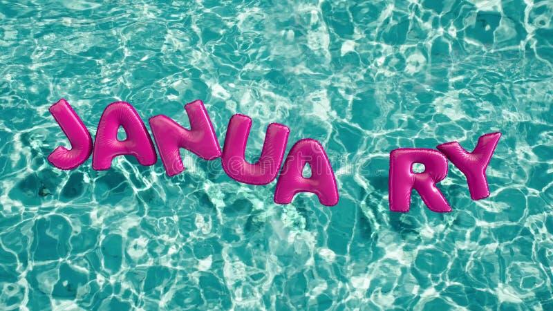 Word ` JANUARI ` vormde opblaasbaar zwemt ring die in een verfrissend blauw zwembad drijven stock afbeelding