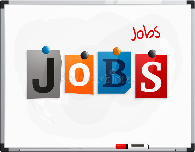 The word Jobs made from newspaper letters attached to a whiteboard or noticeboard with magnets. Marker pen. Vector. The word Jobs made from newspaper letters vector illustration