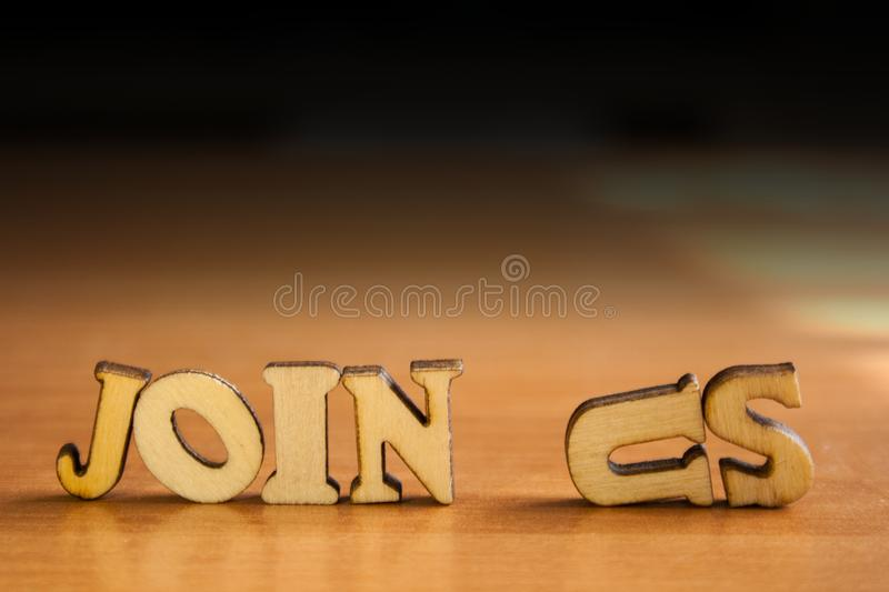 Word join us stock photos