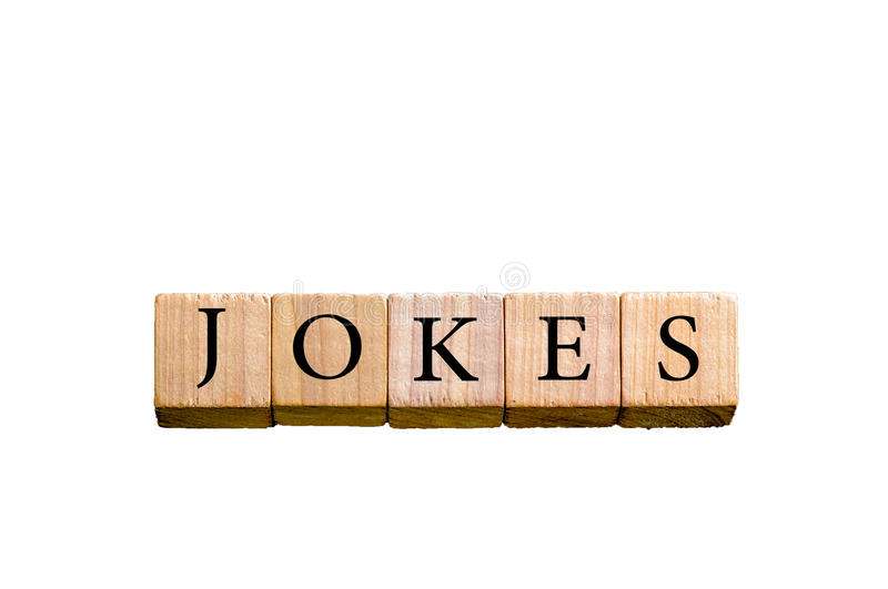 Word JOKES isolated on white background with copy space stock image