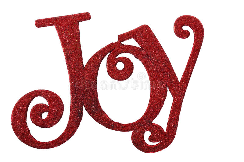 The Word Joy in red glitter. Isolated on a white background royalty free stock photography
