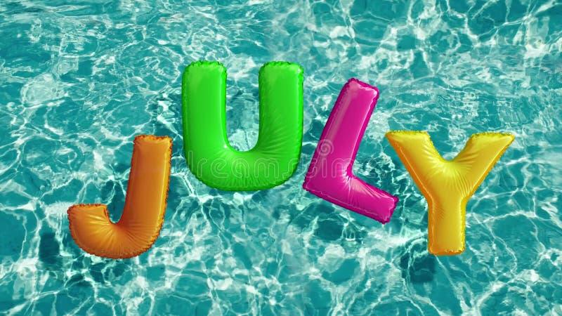 Word JULI vormde opblaasbaar zwemt ring die in een verfrissend blauw zwembad drijven stock illustratie