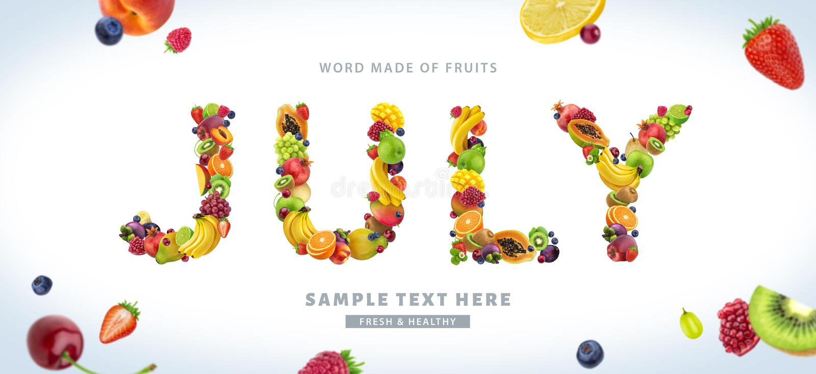 Word JULY made of different fruits and berries, fruit font isolated on white background. With clipping path vector illustration