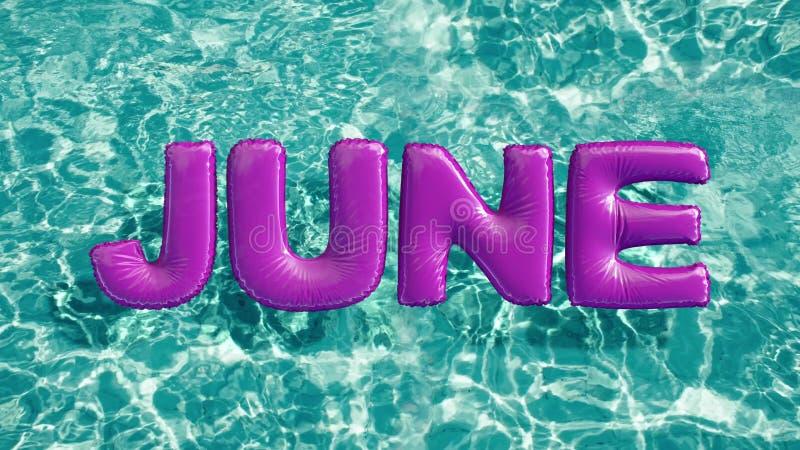 Word ` JUNI ` vormde opblaasbaar zwemt ring die in een verfrissend blauw zwembad drijven stock illustratie
