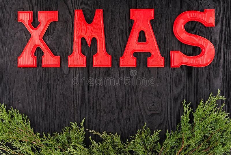 Word Kerstmis van houten brieven royalty-vrije stock afbeeldingen