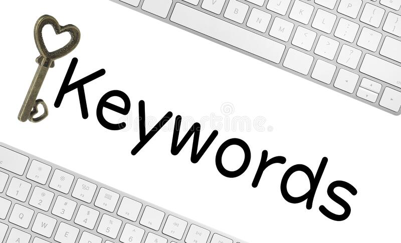 Word Keywords, computer keyboards and key on background. SEO direction. Word Keywords, computer keyboards and key on white background. SEO direction royalty free stock image
