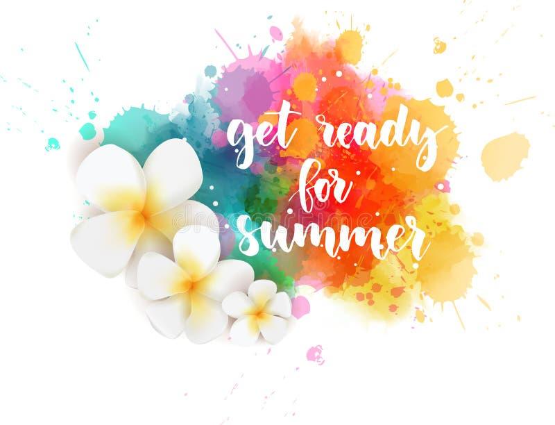 Word klaar want de zomer vlek watercolored vector illustratie