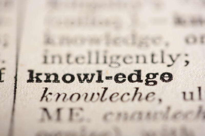Word knowledge. From the old dictionary, a close up royalty free stock image