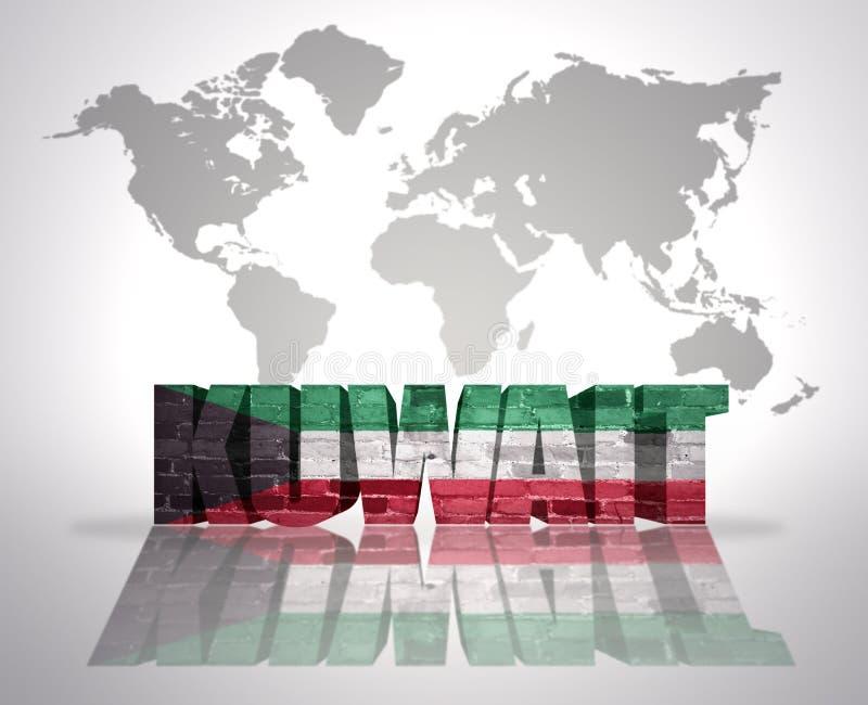Word Kuwait On A World Map Background Stock Illustration ...