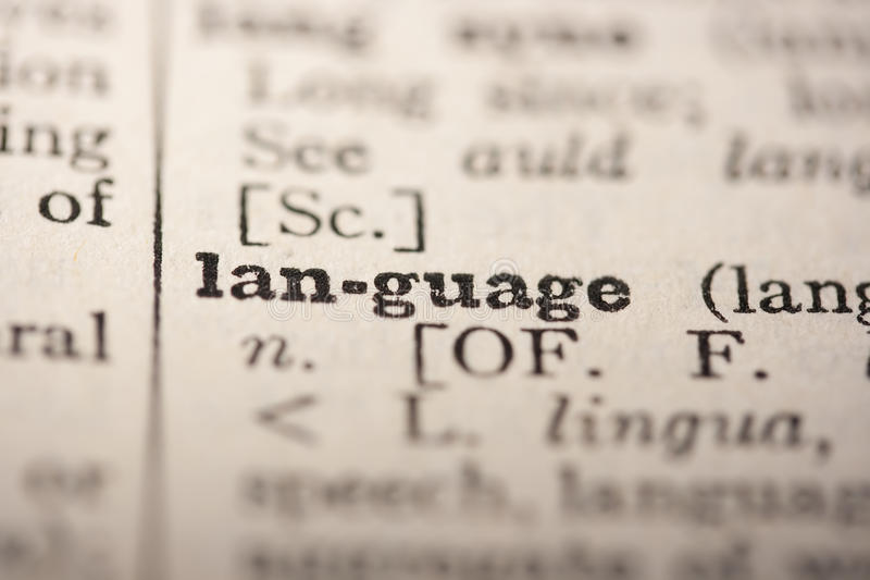 Word language. From the old dictionary, a close up royalty free stock image