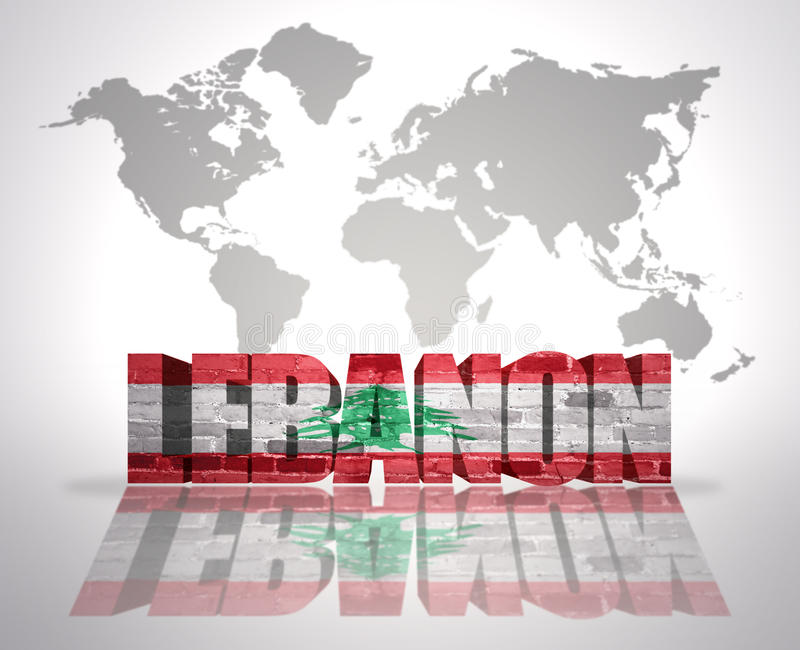 Word Lebanon On A World Map Background Stock Illustration ...