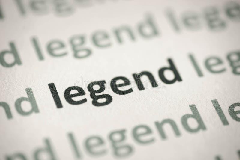 Word legende op document macro wordt gedrukt die royalty-vrije stock fotografie