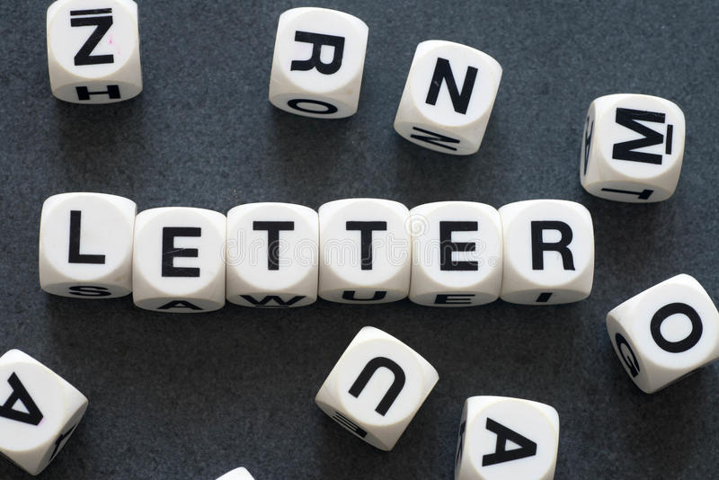Word letter on toy cubes royalty free stock image